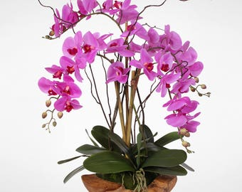 Purple Real Touch Phalaenopsis Silk Orchid Arrangement in a Natural Teak Bowl #59A