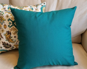 Solid Dark Teal Green Cotton Pillow Cover - Various Sizes