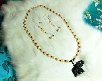 "Necklace  Fresh Water Pearl and Black Onyx  ""Romancing the Elephant""  08-14"