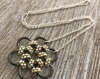 Silver & Gunmetal Beaded Necklace, Honeycomb Necklace, Seed Bead Jewelry, Beaded Chainmaille, Chainmaille Necklace, Geometric Jewelry