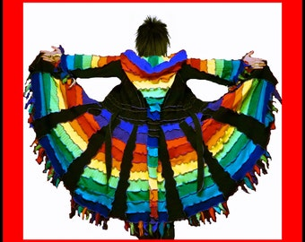 elf coat, sweater coat, dream coat, rainbow coat, fairy coat, steampunk, hippie dress, gypsy coat, patchwork coat, boho coat, size M, size L