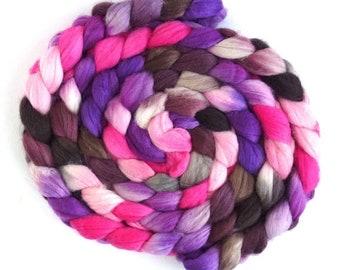 Hand Spinning Roving, Superwash Merino and Nylon - Handpainted Colorway, Flowering Trees