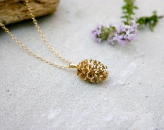 Gold Plated Pine Cone Necklace: Forest Necklace, Woodland jewellery, Pinecone pendant, Pine Cone Charm, Gold Necklace