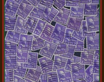 100 Purple Stamps - Classic Thomas Jefferson - Vintage Stamps By Color - 1938