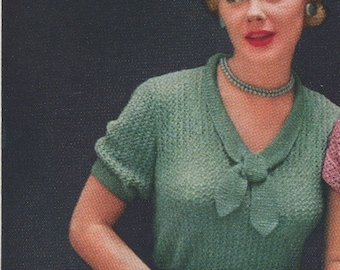 Early 50s Sailor Sweater Knitting Pattern Tie Collar Low Neck Short Sleeves PDF File Sizes 12 - 18