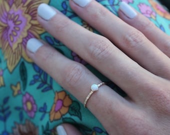 Gold stacking ring, Opal ring, 14k gold filled ring,stacking ring, midi ring, stackable ring