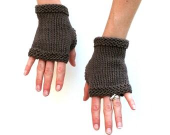 Ready to Ship: Basic Cotton Mitts - Hand Knit Fingerless Gloves - Unisex Gloves - Wrist Warmers - Short Gloves - Cotton Gloves - Gauntlets
