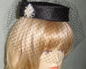 Black Pillbox Hat French Veiling Goth Wedding
