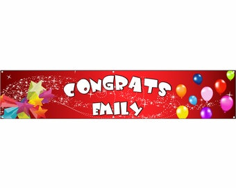 Congrats Red Vinyl Banner Single Sided with Grommets