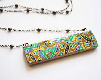 Green, Brown butterflies hand painted bamboo rectangle necklace
