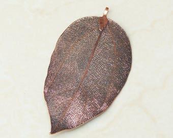 Liquid Metal Leaf Pendant - Large Leaf Pendant - Autumn Leaf - Copper - BOHO - Tribal - 42mm x 80mm - 9113