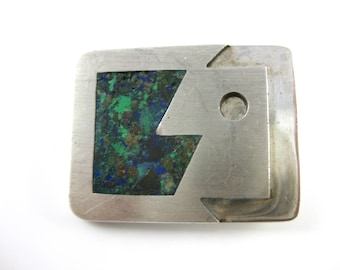 Vintage A. Munos Abstract Sterling Silver Mexico Brooch w/ Lapis