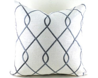 Pillow Covers ANY SIZE Pillow Cover Grey Pillows Embroidered Pillow Duralee Rico Grey