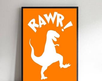 T Rex rawr coloured print