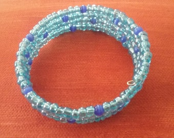 Opaque Blue Seed Bead Memory Wire Bracelet, Women's Blue Beaded Bracelet, Beaded Bracelet, Blue Fashion Accessory
