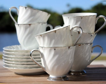 7 Heirloom, White Coffee, or Tea Cups -  Teacups and Saucers, Made in Japan  13852