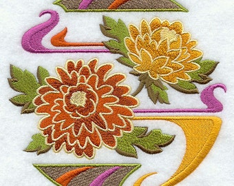 Chrysanthemum  Flowers Embroidered Flour Sack Hand/Dish Towel