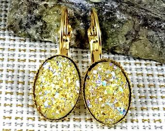 Bridesmaid Gift - Oval Yellow Druzy Earrings - Wedding Jewelry - Leverback Earrings - Yellow Bridesmaid Jewelry - Bridesmaid Earrings - Gift