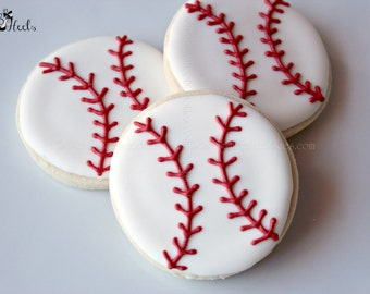 Baseball Decorated Sugar Cookies, Boys Birthday Cookies, Sports Cookies