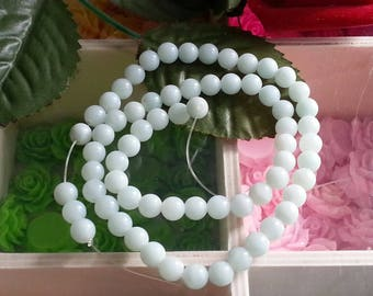 son of 65 reflections green Amazonite beads Blue 6 mm in diameter, 1 mm hole