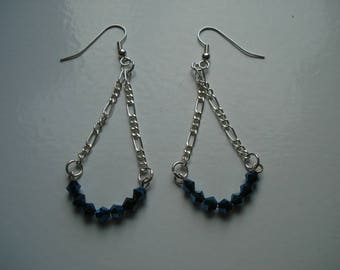 Magnetic blue Swarovski elements crystals on silver chain drop earrings