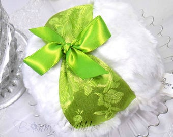 CHARTREUSE LIME Powder Puff  | green sateen, ivory cream plush  |  gift box option  |  large pouf  |  handmade by Bonny Bubbles