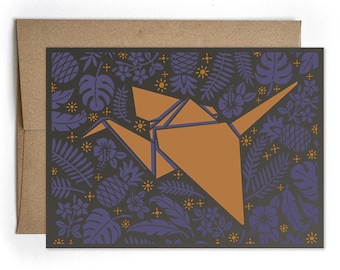 Everyday Greeting Card, Thank You Card, Congrats, Bday Card, Modern Card for Him or for Her, Origami Paper Crane Cards