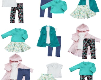 Fits like American Girl Doll Clothes - Easter/Spring Basics Capsule Starter Wardrobe, a 7-Piece Collection   14.5 Inch Doll Clothes