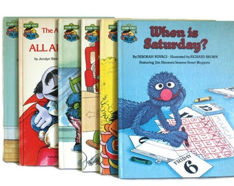 Vintage Sesame Street Book Club Books - Retro 80s Hardcover Golden Press Alphabet Learning Books - Set of Six