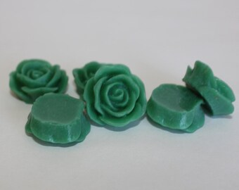 10 PETAL ROSE Cabochons - 20mm - Emerald Green Color