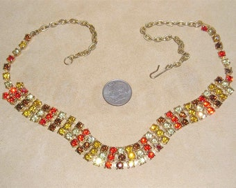 Vintage Indian Corn Rhinestone Choker Necklace 1960's Jewelry 11116