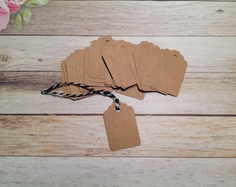 Tiny Gift tags,30 mini Kraft tags, price tags, Ivory price tags, Kraft cardstock tags, mini gift tags, tags and twine set