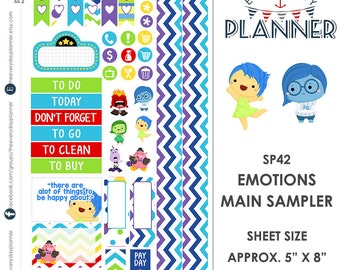 Inside Out Emotions Sampler Kit | Over 30+ Kiss-Cut Stickers | Erin Condren and Mambi  | Disney Inspired   SP042