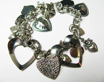 Silver Charm Bracelet with 14 Various Charms - Item 514 B