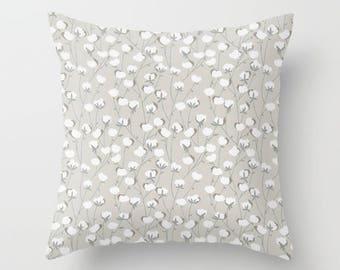 Gray Pillow Cover Cotton Fields Pillow Throw Pillow Decorative Pillow Size Choice