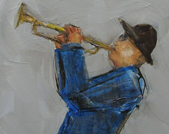FIGURE FIGURATIVE ART Trumpeter Music Musician Trumpet Colette Davis - Abstract Giclee print from my original oil painting -  Art