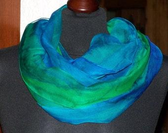 "Silkscarf ""Waldquelle"", silk, scarf, shawl, chiffon, long scarf, one of a kind, handpainted, Silkpainting, wearable art"