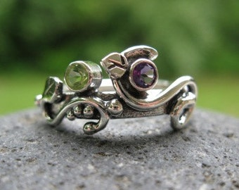unique mothers ring. sterling & 2 birthstones .(Wild Garden Mothers Ring). multi stone ring .READY TO SHIP sz 6.5 with your choice of stones