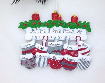 10 Christmas Mittens / Large Family Christmas Ornament / Big Family Christmas Ornament / Personalized Christmas Ornament