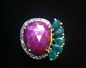 925 silver ring with ruby talp stone