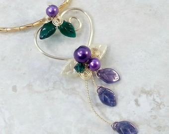 Fairy Heart Necklace in Mardi Gras Colors