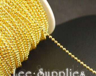2mm Gold Plated Metal Brass Ball Necklace Chain C58