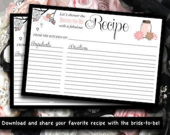 INSTANT DOWNLOAD Bridal Shower Recipe Card | 4 x 6 Mason Jar Recipe Card Printable | Classic Black Blush Pink | Wedding Bridal Shower Gift