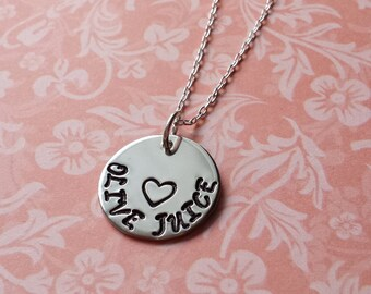 Hand Stamped Olive Juice Necklace