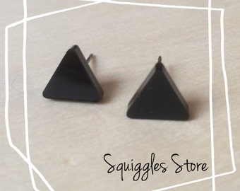 Hypoallergenic Stud Earrings with Titanium Posts - Black Triangle - Sensitive Ears