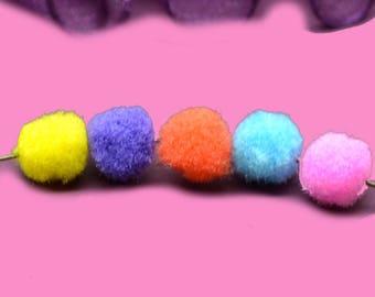 30 tassels round 10mm multicolored