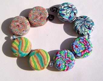 Colorful Flat Coin Earring Pairs Four Sets Handmade Artisan Polymer Clay Bead Pairs
