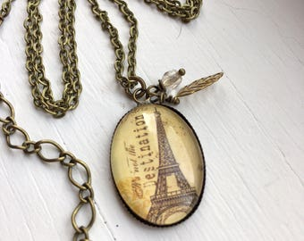 Antique Brass Necklace with Paris Resin Pendant