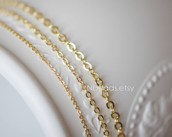Gold Oval Round Cable Chains, Real Gold plated on Brass Tiny Chains, 1.2/ 1.6/ 2/ 2.7mm Thin Chains (#LK-106)/ 1 Meter=3.3 ft