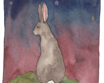 Reserved for A -Original Watercolor Painting - Gray Bunny